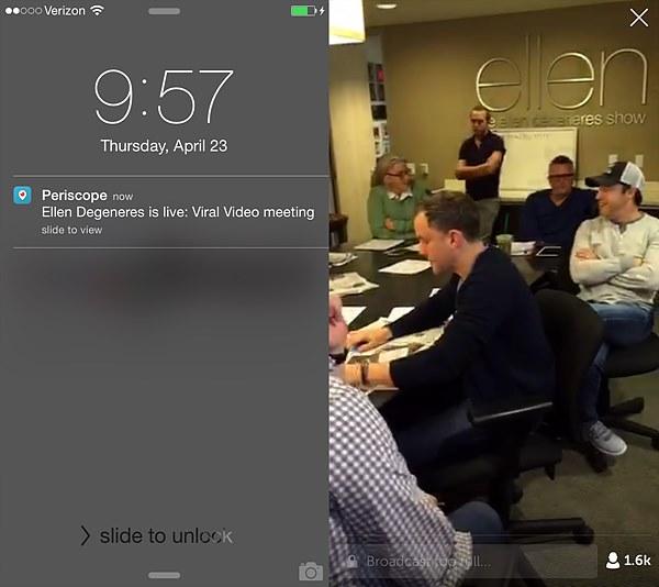 """[그림 ] 미국의 인기 토크쇼 는 제작진 회의를 페리스코프로 생중계하는 등 비하인드 콘텐츠를 중심으로 프로그램 홍보와 시청자 참여를 유도하고 있다. / 출처 : Seodirect.org(2015. 4. 23.) """"7 ways to connect with your audience using the Periscope App"""""""