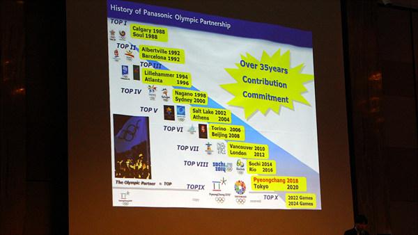 소노다 실장의 올림픽 파트너십 소개. 파나소닉의 올림픽 지원과 파나소닉의 신념이 발표되었다