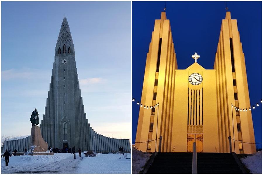 건축가 사무엘손이 설계한 레이캬비크의 상징 할그림스키르캬 교회(좌), 야큐레이리의 아큐레이라키르캬 교회. 주상절리 형태를 본떠서 설계했다(우)