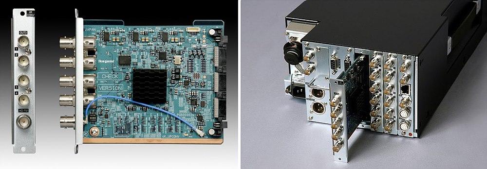 그림 5. 2K → 4K Up Scaling Module,  4K 컨버터 보드와 BS-98 3G 베이스 스테이션에 장착 사진