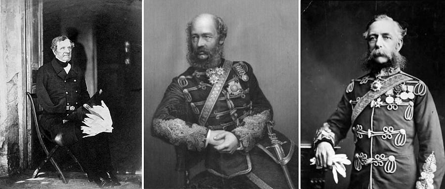 왼쪽부터 래글런 경, 루컨 경, 카디건 경 발라클라바 전투의 영국군 사령관, 출처 : wikipedia