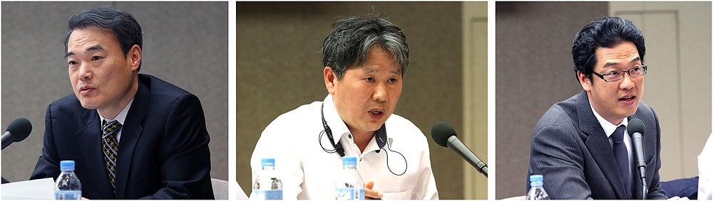 왼쪽부터 탁재택 KBS 박사, 이진호 DTV KOREA 기획홍보실장, 이상진 SBS 정책팀 차장