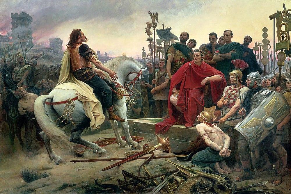 카이사르에게 무기를 던지며 항복하는 베르킨게토릭스 / 출처 : wikipedia