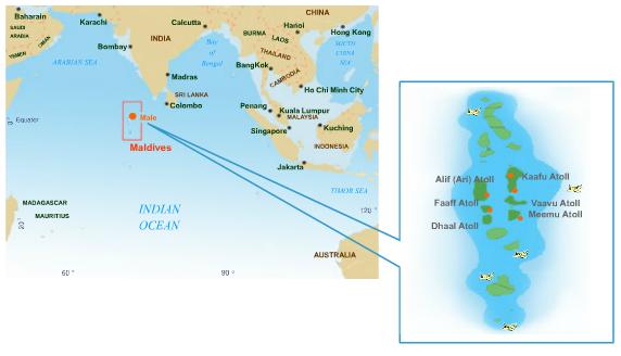 여러 개의 섬으로 이루어진 몰디브