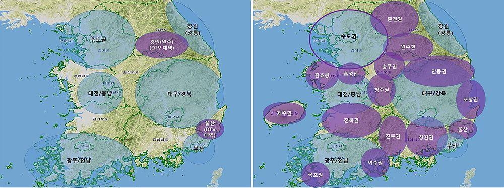 그림 1. 지상파 UHD 방송 주파수 공급(안)  좌측 - 1, 2단계 : 수도권 및 광역시권(강원 평창올림픽 개최지 일원) KBS2·EBS 전국방송(700㎒ 2개),  KBS1·MBC·민방(700㎒·DTV대역 : 3개 채널) 우측 - 3단계 : 시, 군지역(KBS2·EBS : 700㎒ 2개, KBS1·MBC·민방 : DTV 대역 3개)
