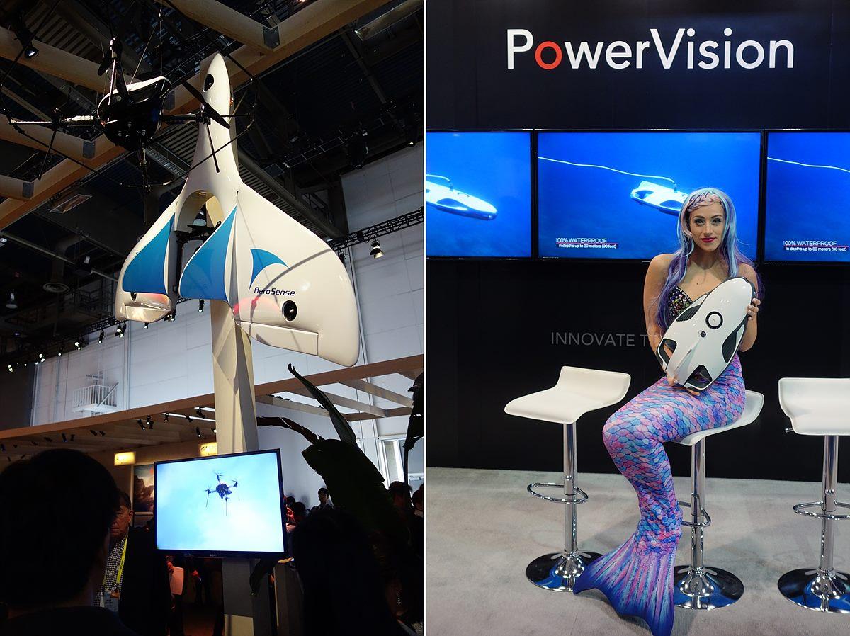 ▲ 소니의 AeroSense 드론과 PowerVision의 낚시용 드론 - 소니의 AeroSense는 배달이나 순찰, 항공 촬영 분야에 활용할 계획을 갖고 있다. - PowerVision의 PowerRay는 수중 드론으로서 낚시에 활용된다. 물 밖에서 VR 기기를 착용하고 드론을 수중에 넣어 드론이 촬영하는 수중 영상을 볼 수 있으며, 드론을 조종하여 낚싯줄을 물고기가 많은 곳으로 움직일 수 있다. 이런 제품이 발전되면 수중 촬영용 드론으로 활용할 수 있을 것이다.