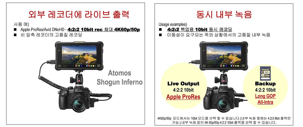 4:2:2 10비트 HDMI 라이브출력 & 동시 내부 녹음