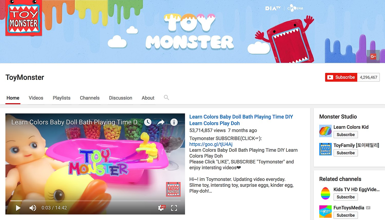 구독자 430만의 국내 채널인 ToyMonster은 월 2억 조회수 중 99%가 해외 트래픽이다