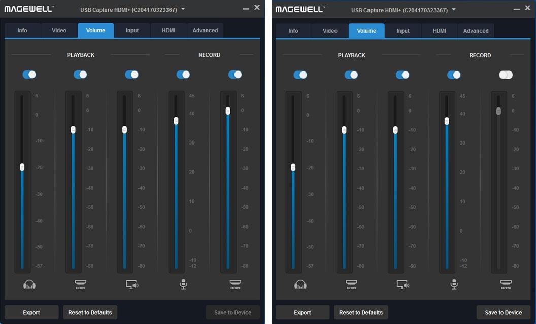 두 개의 오디오를 동시 사용(좌), 라인 입력 오디오만 사용(우)