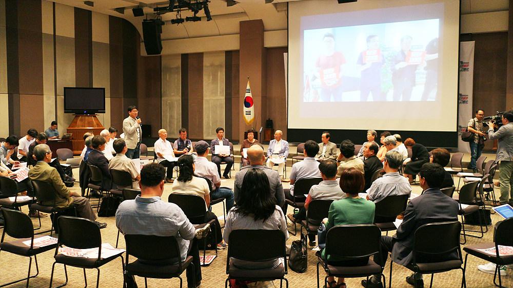 성재호 전국언론노조 KBS본부장은 KBS 내의 투쟁 상황을 설명했다