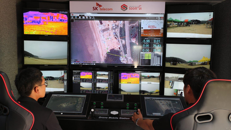 DMS의 내부, 드론 컨트롤 및 영상 분석을 위한 관제시스템이다