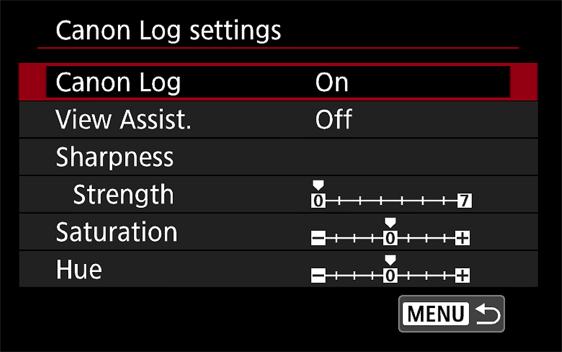 EOS 5D MarkIV 내 Canon Log 설정 메뉴