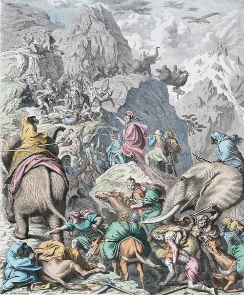 알프스를 넘고 있는 한니발의 코끼리 부대