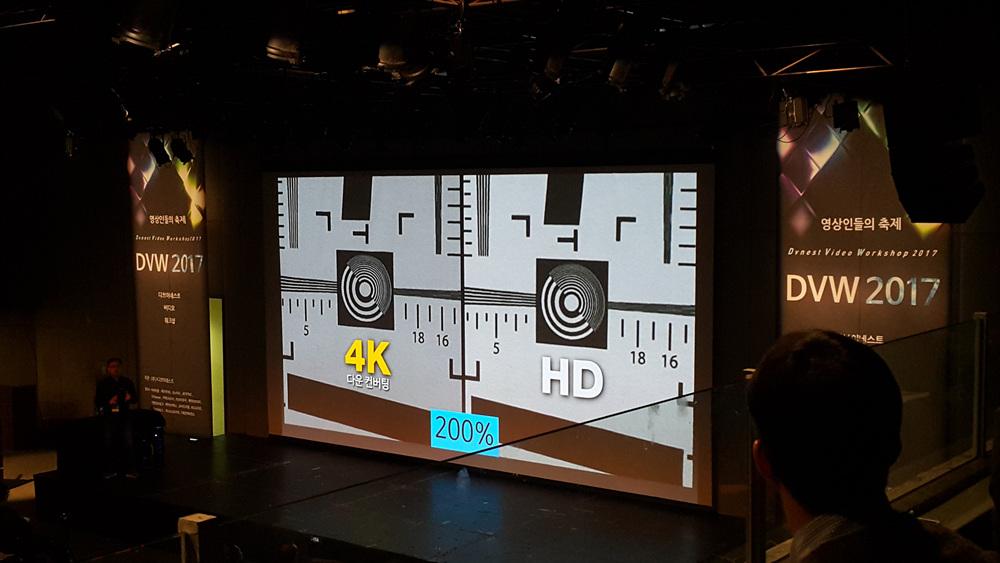 4K를 다운컨버팅한 화질이 HD보다 선명함을 설명하고 있다.