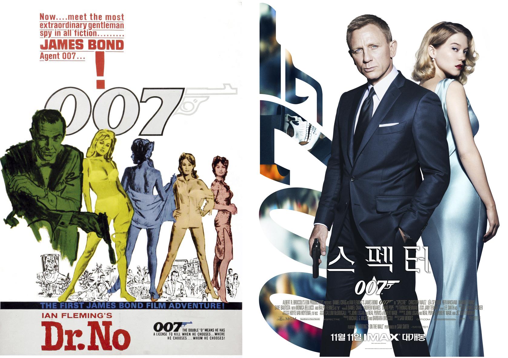 1962년 007 시리즈의 첫 영화였던, '007 살인번호'와 2015년 24번째 007 시리즈인 '007 스펙터'