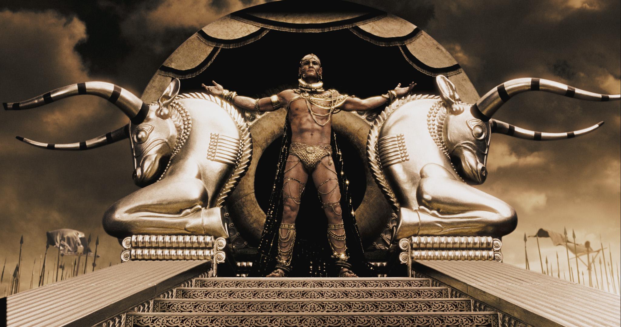 영화 300에서 묘사된 스파르타의 왕 레오니다스와 페르시아의 왕 크세르크세스