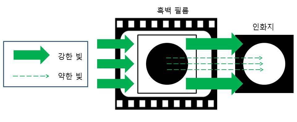 그림 2. 흑백 필름에 기록(촬영)된 영상의 재생(인화)