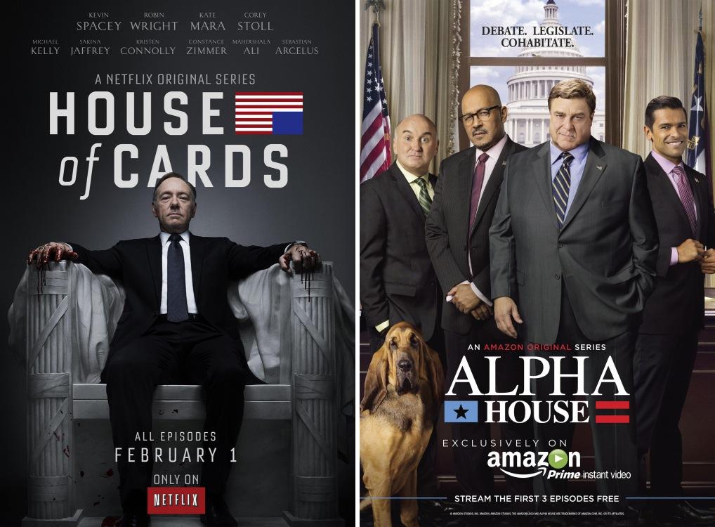 넷플릭스 오리지널콘텐츠 '하우스오브카드'와 아마존 오리지널콘텐츠 '알파하우스'