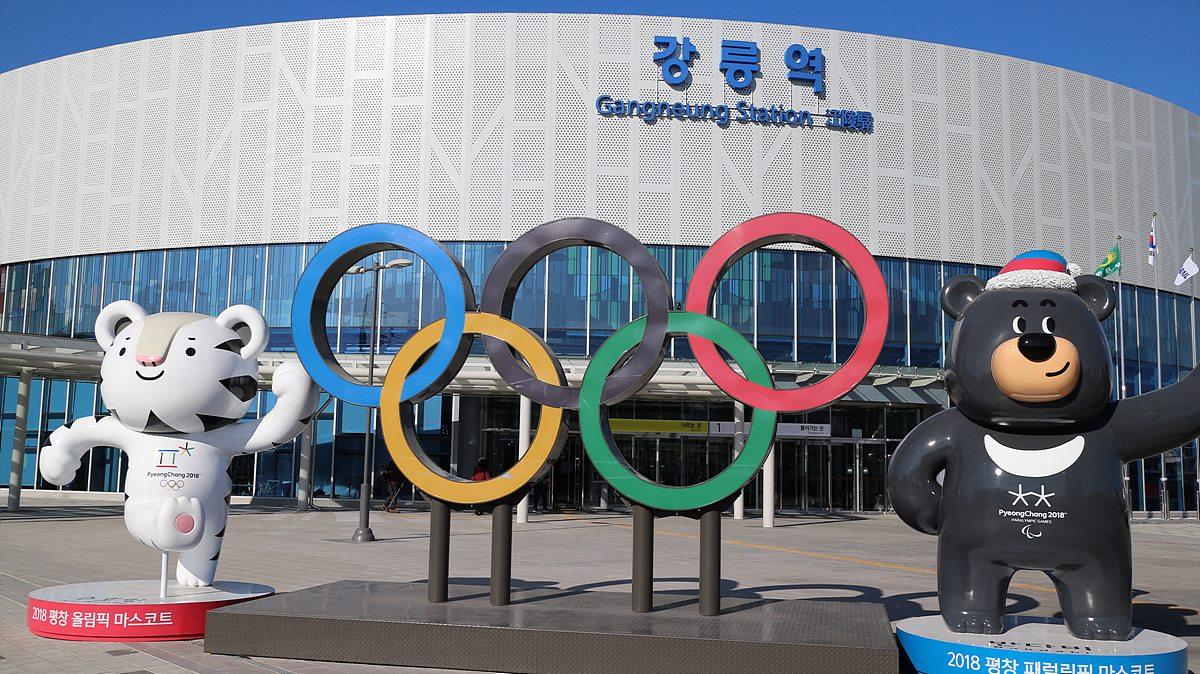 평창 동계올림픽 마스코트가 설치된 강릉역