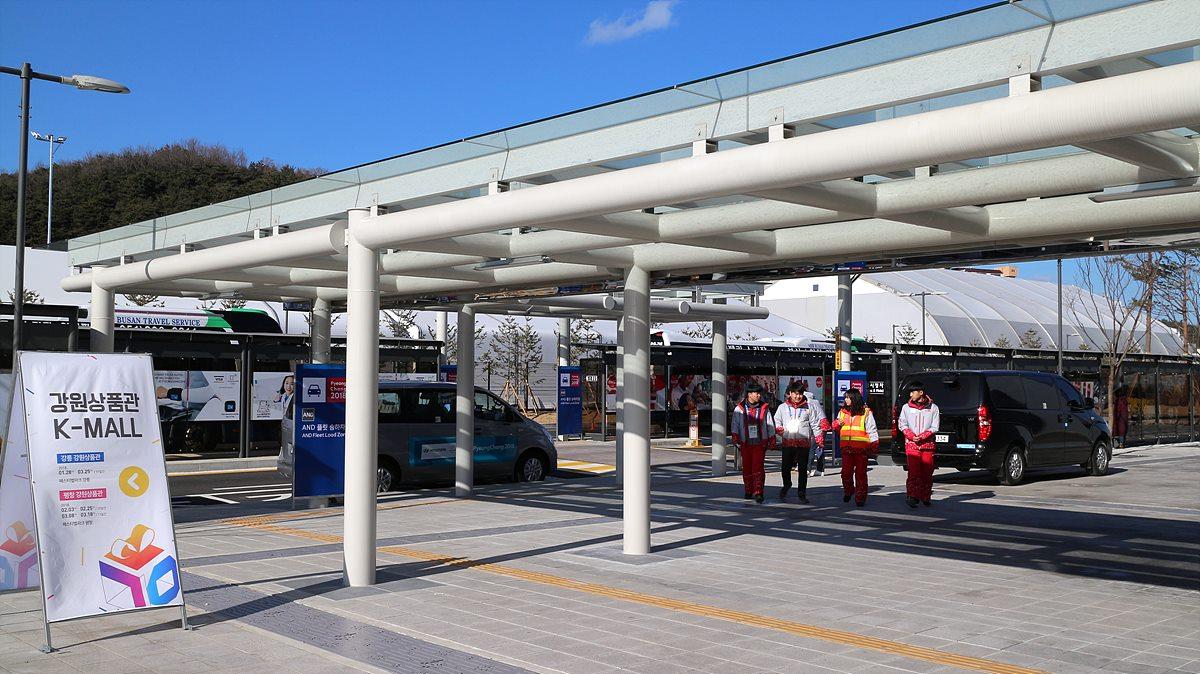 강릉올림픽파크로 가는 셔틀버스 타는 곳
