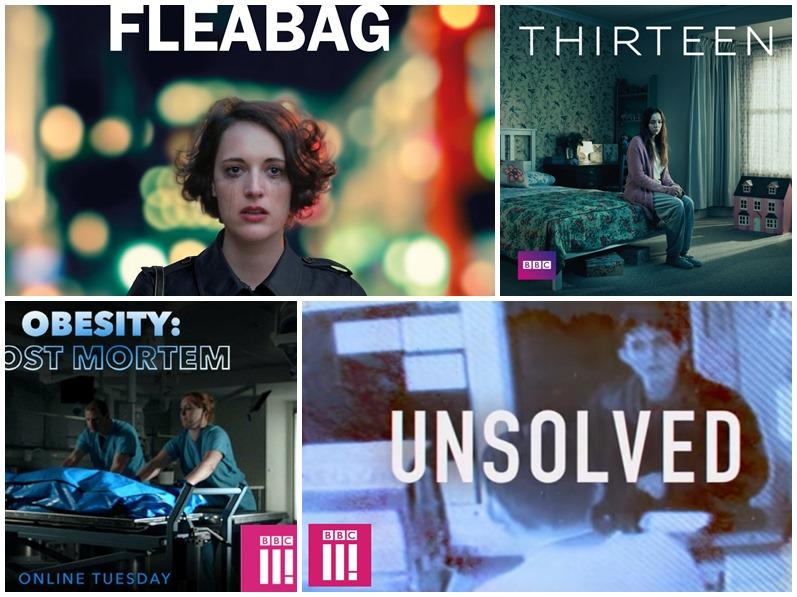 BBC3의 인기 프로그램, 좌측 상단에서 시계방향으로 Fleabag, 13, Obesity: The Post Mortem, Unsolved  순