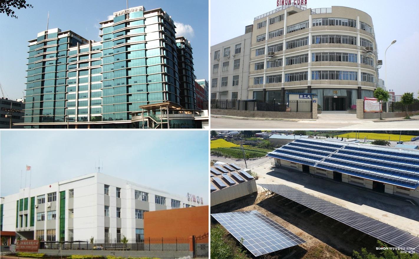 (시계방향으로) 가산동에 위치한 싸이먼 본사, 중국 산둥성 생산 공장, 중국 복건성 생산 공장, 경상북도의 물류창고