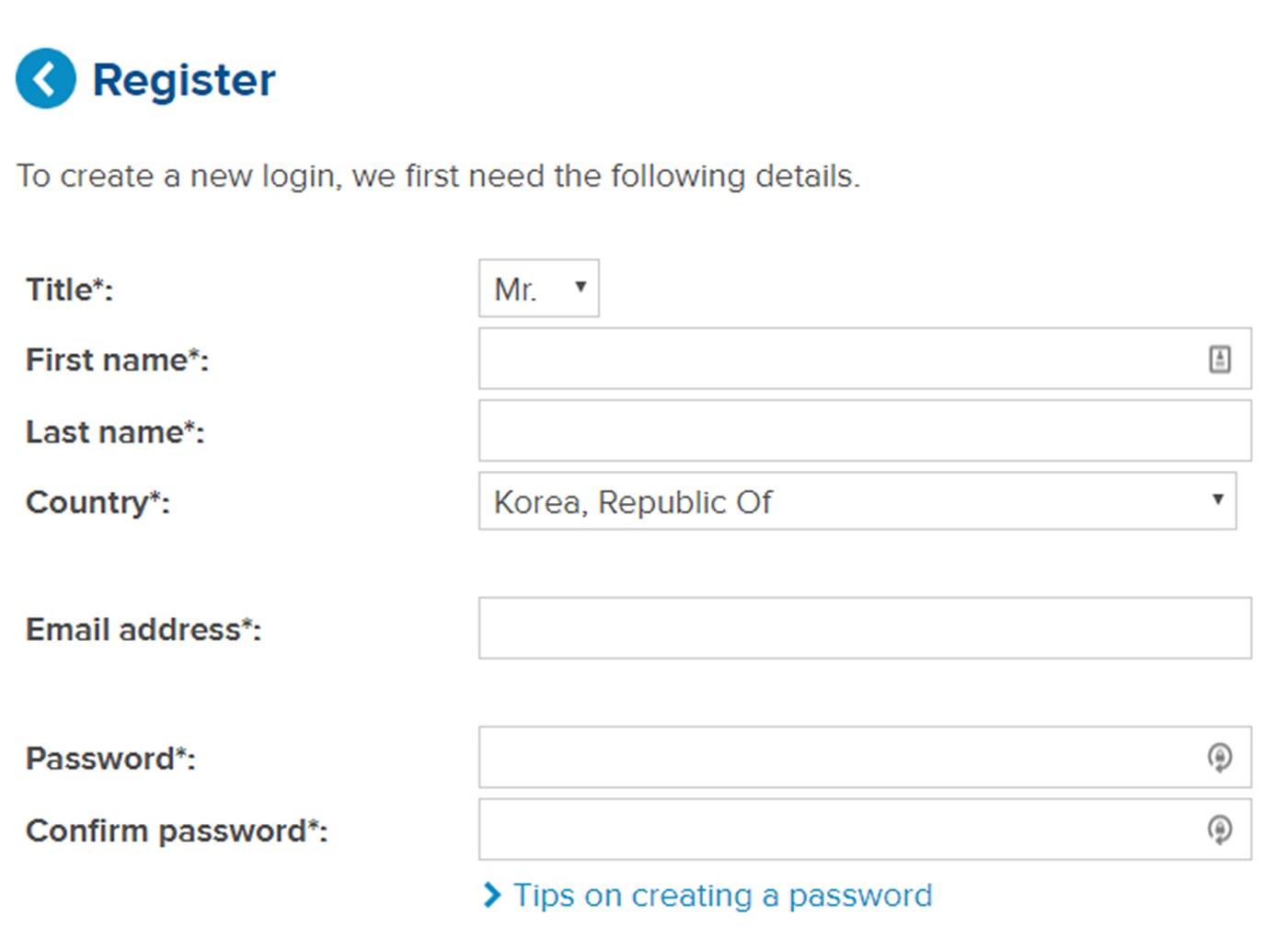 * 표시가 있는 모든 항목들을 입력한다. Password 는 숫자 또는 영문 대문자를 포함하여 6~8자로 입력한다.