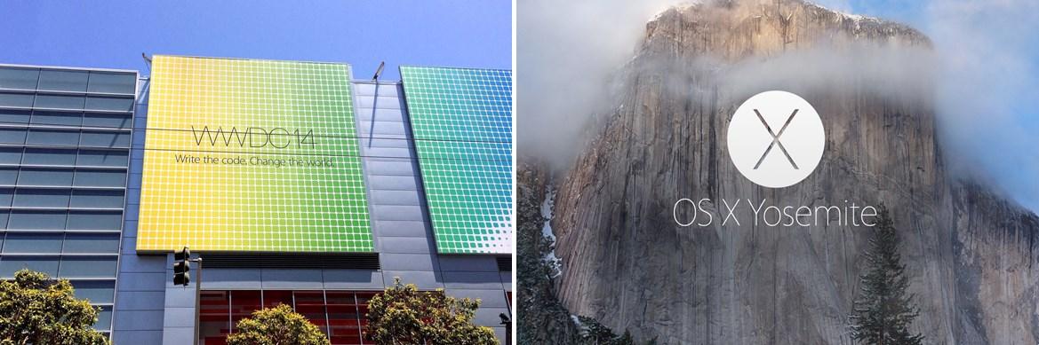 2014년 애플의 개발자회의 표어(좌)와 그 해 발표된 맥 OS X 요세미티(우)