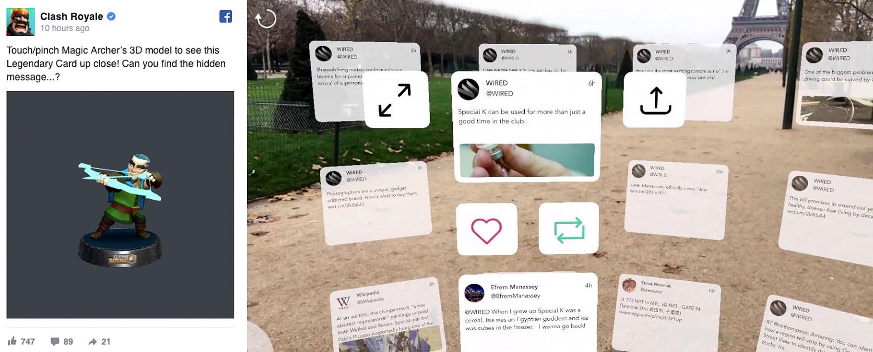 페이스북의 3D 포스팅(좌)과 TweetReality 서비스 화면(우)