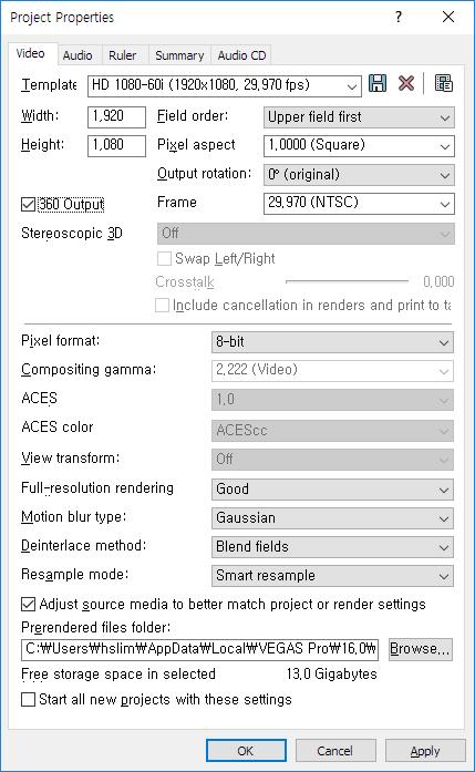 Video Properties에 360 Output 옵션을 체크하면 360도로 촬영된 영상을 편집할 수 있다.