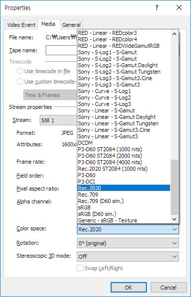 Media Properties의 Color space에는 Sony, RED, Canon, Panasonic 등의 카메라를 포함한 96가지의 Color 값이 있다