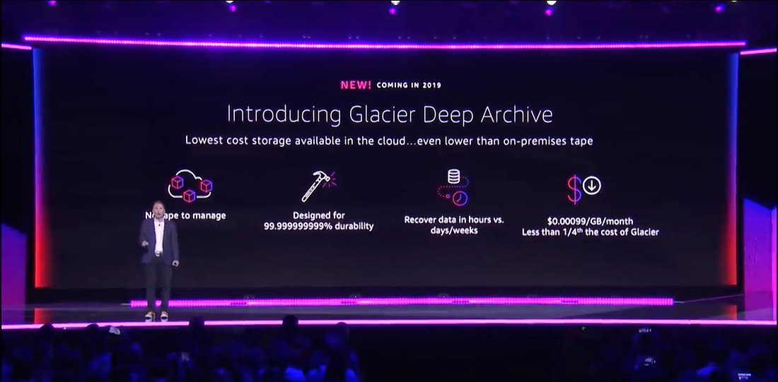 Amazon S3 Glacier Deep Archive를 소개하고 있는 CEO, Andy Jassy
