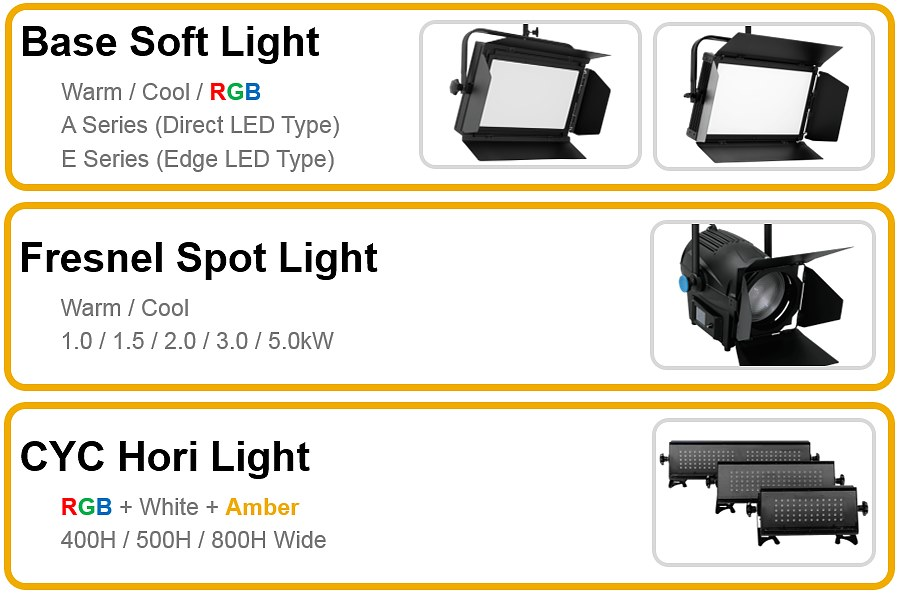 ㈜알파라이트의 주요 제품인 Base Soft Light, Fresnel Spot Light, CYC Hori Light