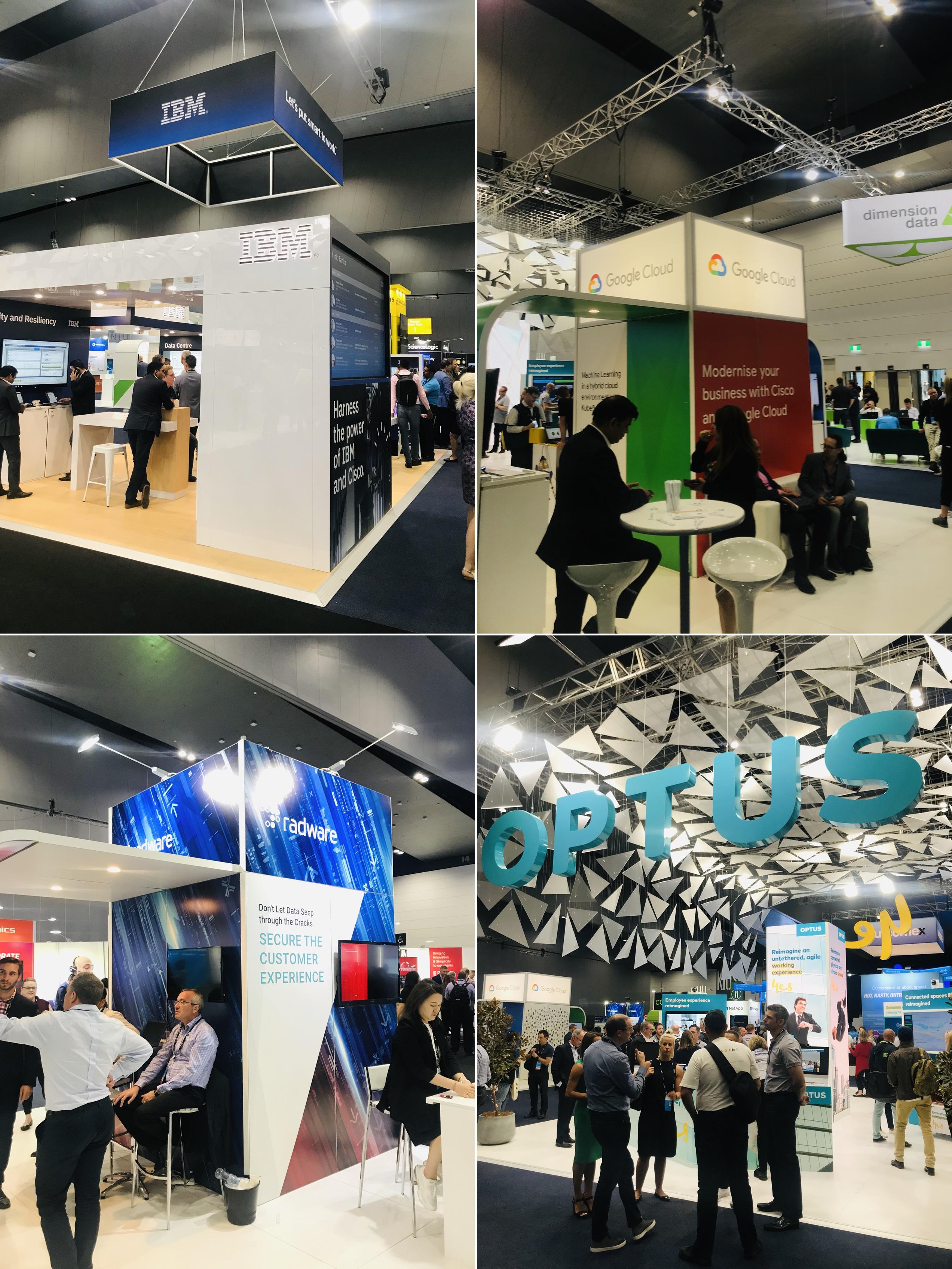 (시계방향으로) Cisco Live 참가한 IBM, Cisco Live 참가한 Google Cloud, Cisco Live 참가한 Optus(호주 통신회사), Cisco Live 참가한 Radware