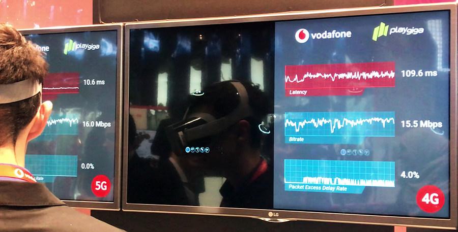 5G의 저지연 특성, 4G의 1/10 정도로 지연(latency)이 감소, vodafone