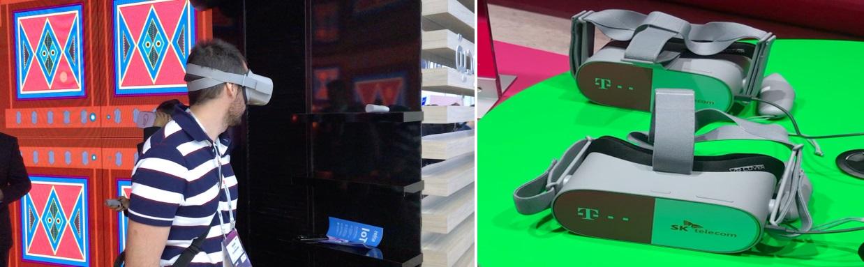 VR 기기를 통해 사우디 명소 소개, Saudi Telecom Company(좌측), VR 기기와 아바타를 활용한 소셜 VR 시연, 도이치텔레콤과 SKT 협업(우측)