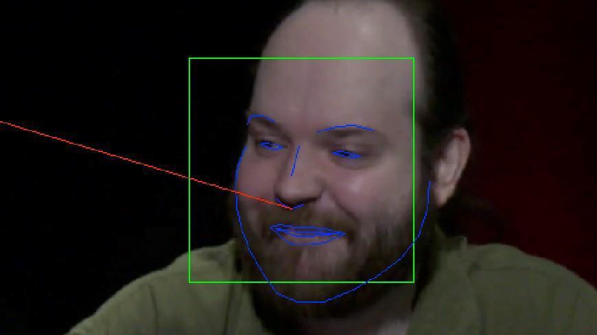 그림 1. 얼굴 탐지 경계 상자(녹색), 얼굴 랜드마크(파란색), 머리 자세 투영(head pose projection, 빨간색)