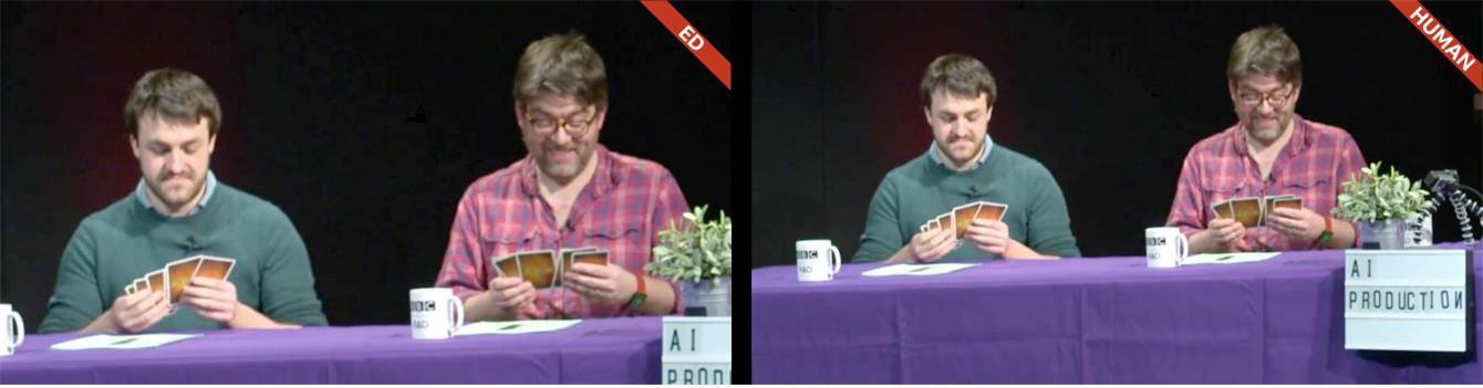 그림 4. 미드샷 : Ed(좌)와 인간(우)의 프레임