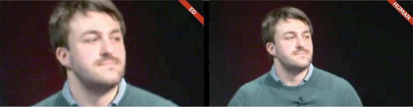 그림 5. 클로즈업 샷: Ed(좌)와 인간(우)의 프레임