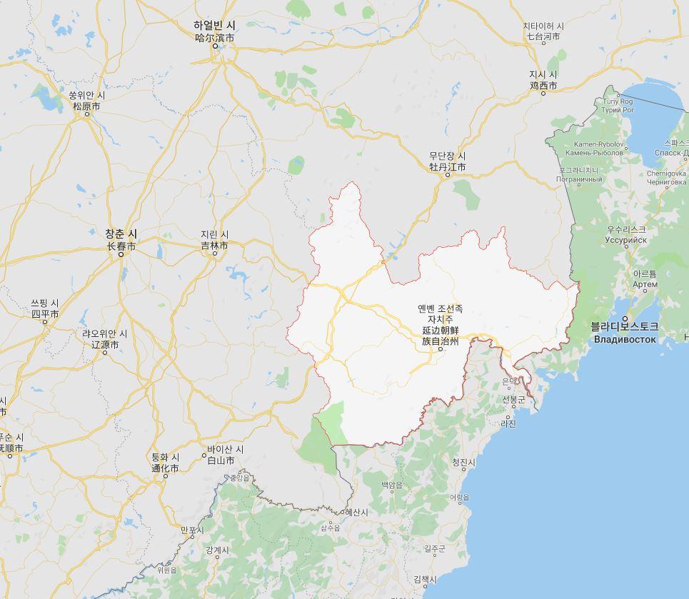 북한과 러시아로 둘러싸인 연변조선족자치주 / 출처 : 구글 지도
