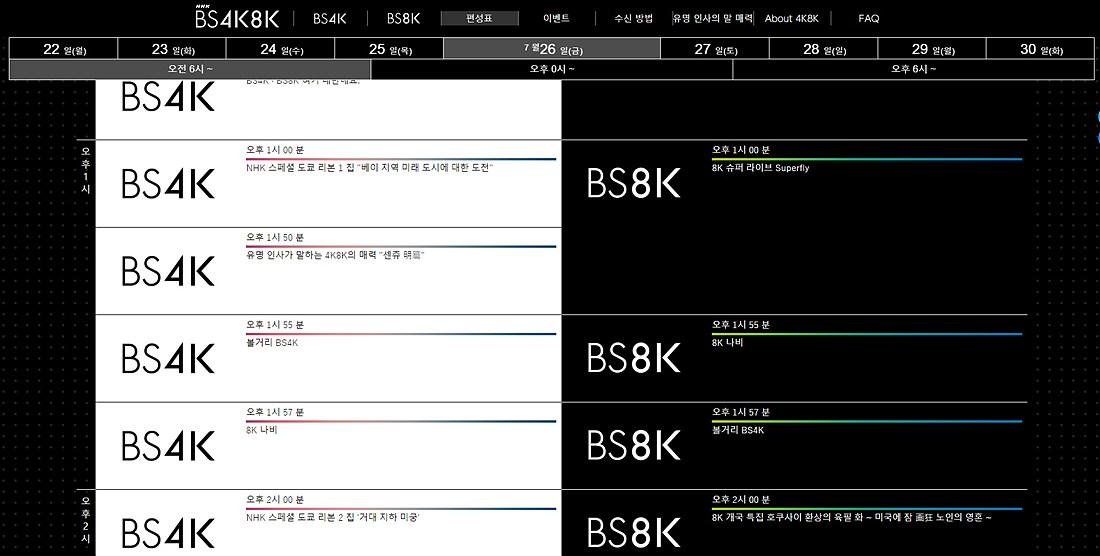 NHK의 8K 편성표(www.nhk.or.jp/bs4k8k/program)