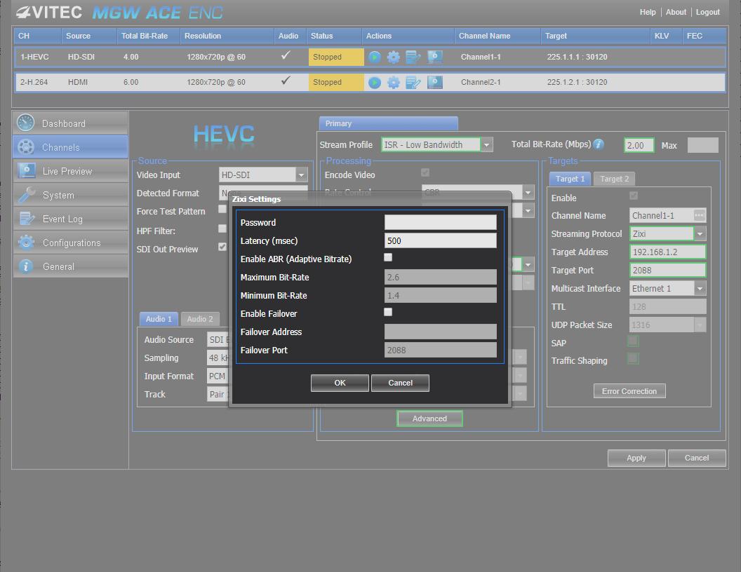 MGW 채널 설정의 스트리밍 프로토콜을 Zixi를 선택할 수 있다