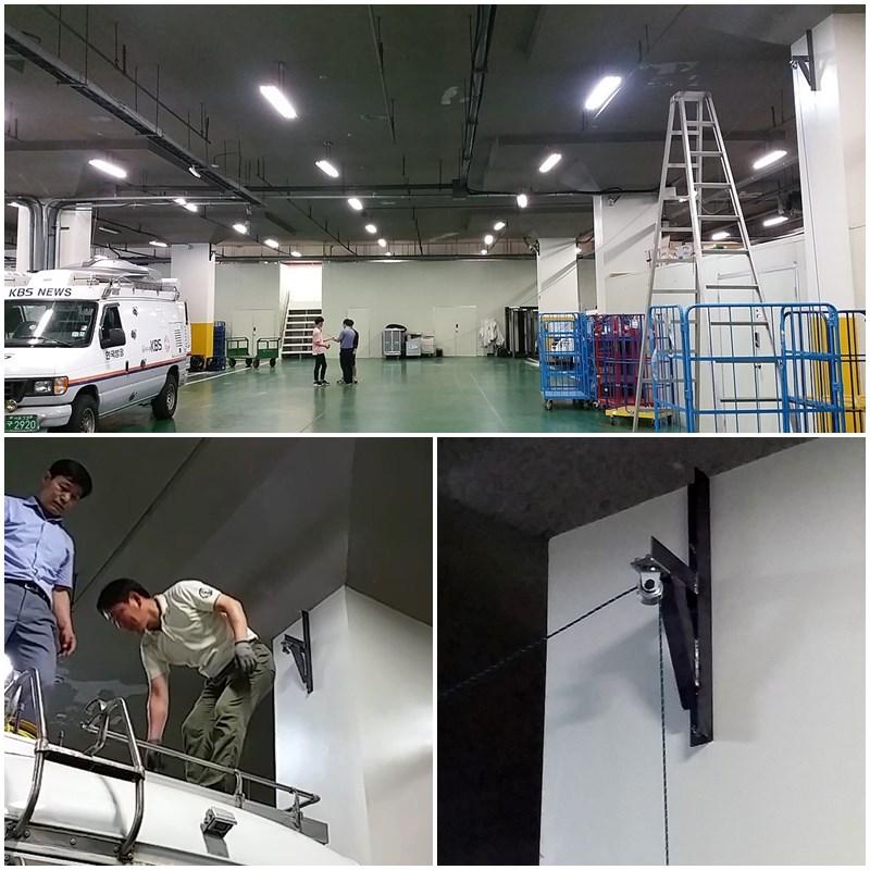 그림 6. Aerial Production System Pully 제작 및 중계차고 설치