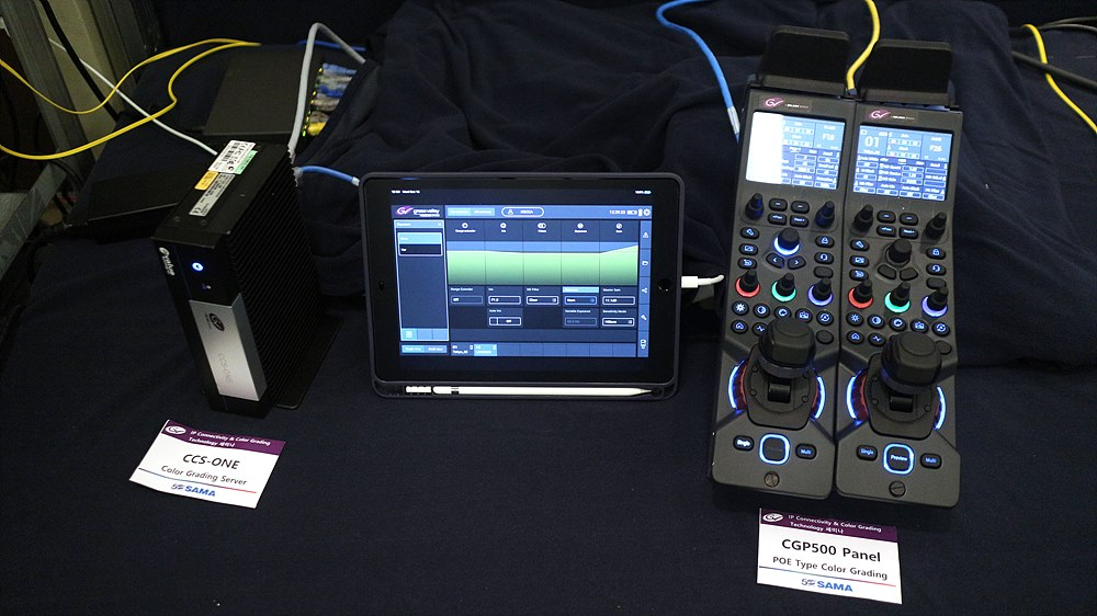 Camera Creative Grading Control을 위한 CGP500 패널과 태블릿을 이용한 설정 시각화