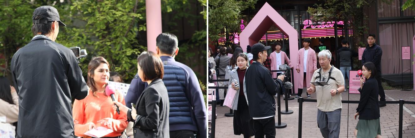 강남 BTS 팝업 스토어 오픈 행사 스마트폰 중계