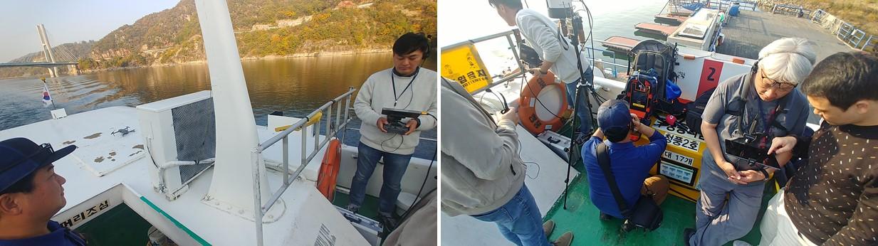 충주호 유람선상에서 스마트폰과 드론 실시간 영상으로 뉴스 생중계를 진행하는 모조팀