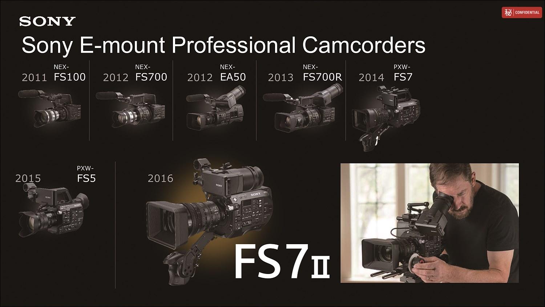 프로 캠코더 라인 변천사, IBC 2014에서 FS7이 공개된 후 인기를 끌며 FS5와 FS7Ⅱ로 진화하였다