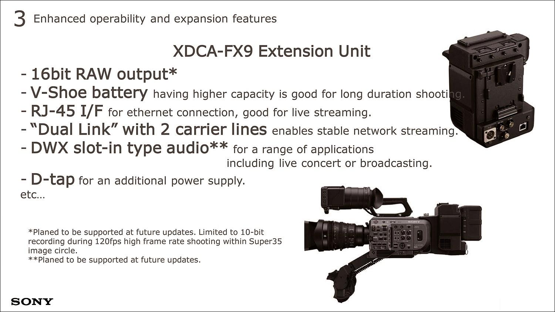 연장 유닛을 연결하여 10비트 120fps 영상 또는 16비트 RAW 영상을 출력하며, 안정적인 품질의 듀얼 링크도 지원한다