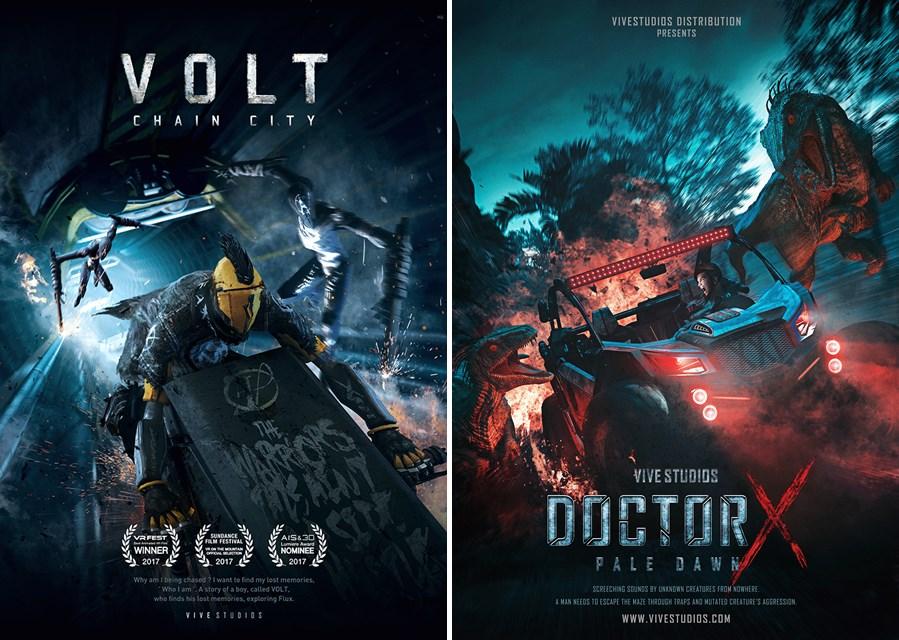 그림 1. 2017년 VRFEST 애니메이션 부문 대상  포스터 (좌), 그림 2. 2018년 VRFEST 애니메이션 부문 대상  포스터 (우)