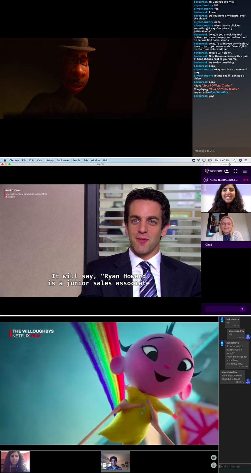 그림 4. (위쪽부터) 메타스트림, 스캐너, 투세븐의 함께 보기 기능 / 출처 : The verge (2020. 7. 1) 재인용
